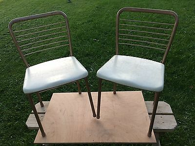2 Vintage old folding pair Cosco Fashionfold Mid Century gatefold metal chairs