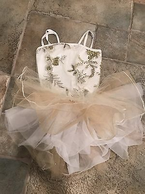 Girl Dance Pageant Costume Leotard, Tutu And Skirt Gold/white Sequin Sparkle