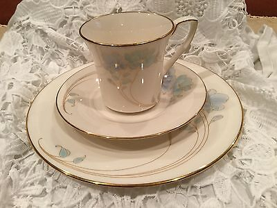 Noritake Blue And Gold Cup, Saucer And Dessert Plate