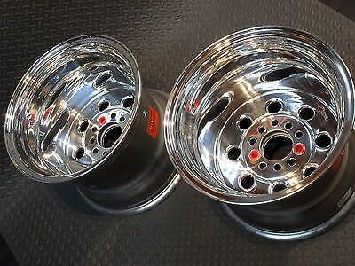 90-512046 WELD RACING DRAGLITE POLISHED 1pr15X12 WHEEL 4.75 CHEVY/FORD/MOPAR 4.5