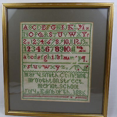 Well Executed Antique 19th Century 1885 Needlework Cross-stitch Sampler Framed