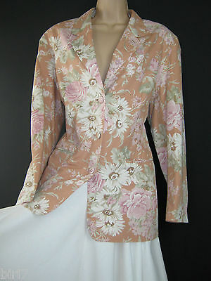 Laura Ashley Vintage Daisy Rose Floral Long-Length Summer Jacket / Blazer, 14