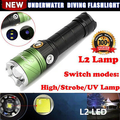 Dive CREE XML L2 LED Scuba Diving Flashlight 5000 LM Torch Underwater Lamp