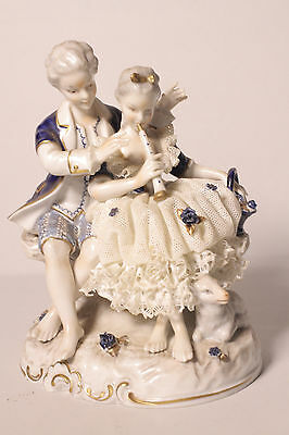 A Dresden Figurine, Musical Pair with Lamb, Magnificent Piece