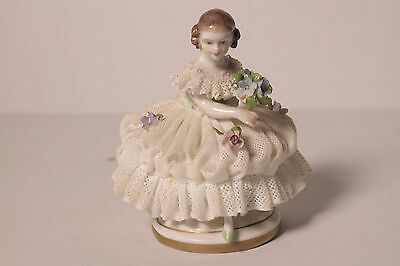 A Dresden Figurine, Young Girl in Lace Crinoline Dress, Magnificent Piece