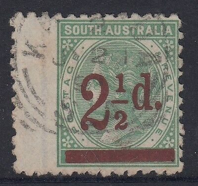 South Australia  2 1/2d  pale green Surcharge  perf 10  used