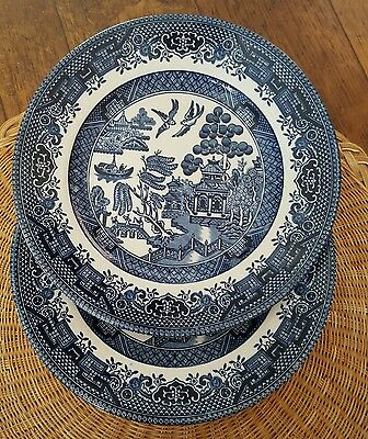 2 Churchill Blue Willow Side Plates Georgian Shape