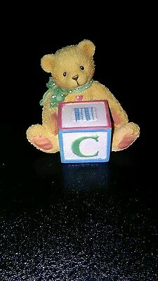 Cherished Teddies Baby Bear with ABC Block Figurine ☆Retired☆