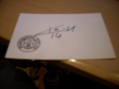 signed card of ex manchester city footballer kiki musampa