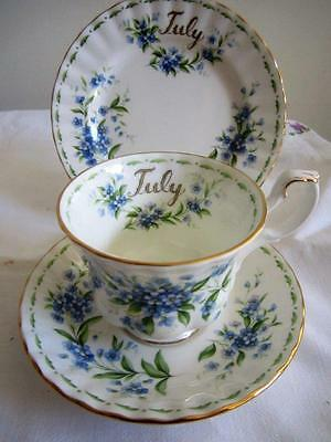 ROYAL ALBERT Flowers of the Month Series JULY TRIO Cup Saucer Plate 1st Quality