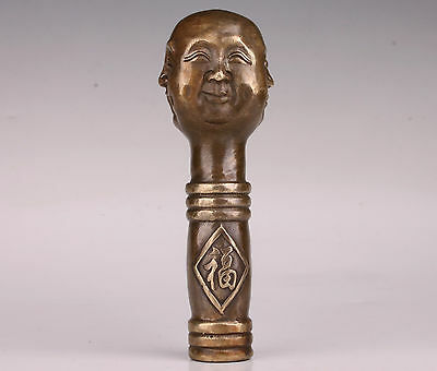 Different Expressions Joys Sorrows  Buddha Bronze  Cane Walking Stick Head