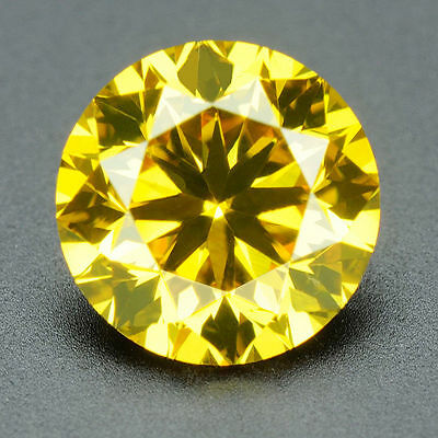 CERTIFIED .092 ct Round Cut Vivid Yellow Color VS Loose Real/Natural Diamond#t3