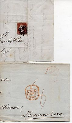 Qv Penny Red On Part Letter Dated April 25 1843 + Half Pre Stamp Cover