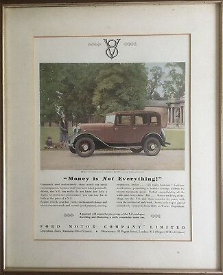 Original, Mounted  & Framed Advertisement from 'Punch' 1930, for the Ford V8!!