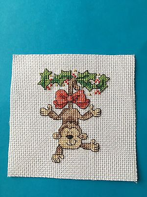 Completed Cross Stitch - Christmas Monkey