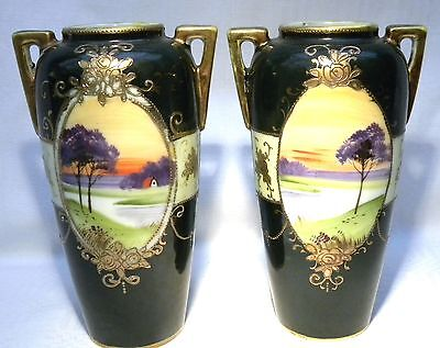 Vintage Nippon Ware Hand Painted Scenic Vase / Urn X 2