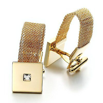 PenSee Fashion Gold Bracelet Cufflinks for Men with Gift Box