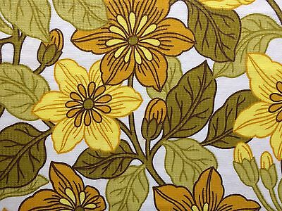 Unused vintage fabric - 1960s/70s yellow floral barkcloth - 4 remnants