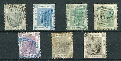 Hong Kong QV 1863-71 some Crown CC values to 96c mixed condition used