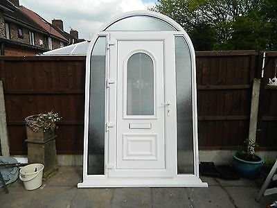White Double Glazed UPVC Door and Arch with privacy glass panels, sill included.