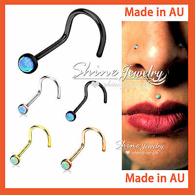 1 x Titanium Surgical Steel Dainty Opal Nose Stud Bone Body Piercing Ring Gift