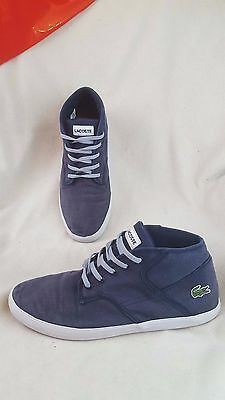 Lacoste Andover Mid Navy Blue Trainers Shoes Size 9.5 uk 44 euro