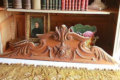 Superb French Antique Architectural Wood Carved Pediment Decorative Ornements