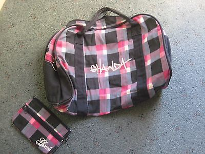 As new GHANDA bag large overnight canvas & matching cosmetic case pink & black