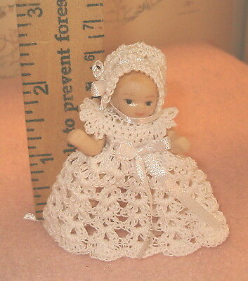 Miniature Dress for 2 1/2 inch Doll Handmade Crochet