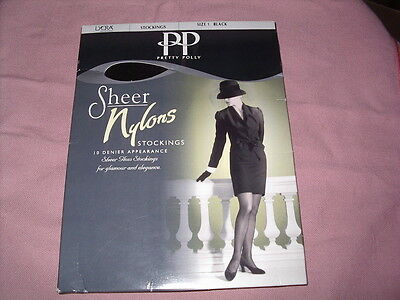 Pretty Polly Stockings Sheer 10 Denier Black Size 1