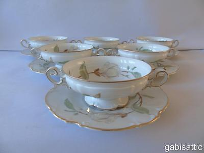 6 x Hutschenreuther Sylvia Magnolia Patt 7948 Footed Cream Soup Bowls & Saucers
