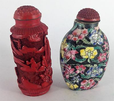 Two antique Chinese snuff bottles, floral porcerlain pattern and Cinnabar