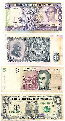 World  Banknote Collection Asia,americas,europe Etc Etc 16 Different See Scans.