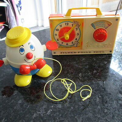 Vintage Fisher Price Radio/ Musical + Humpty Dumpty Pull Along 1970's  Look!!