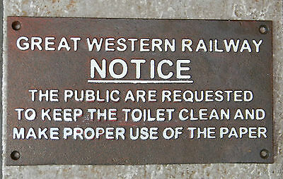 Superb Heavy Cast Iron Sign Great Western Railway Notice To Public