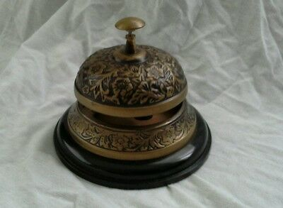 Ornate Antique Style Brass Finish Hotel Service/ Desk Bell On Wood Base..