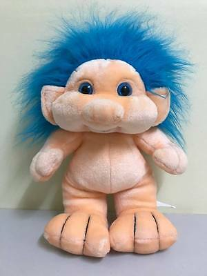 Vintage Plush Troll 35cm by Lemonwood Asia 1980's/90's blue hair soft toy