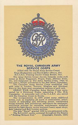 The Royal Canadian Army Service Corps Badge © 1939 Scully Postcard