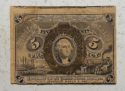 1863  US Five Cents Fractional Currency, Second Issue, FR1233, VF !  (b)