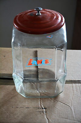 12 Inch Lance Cookie Glass Jar 8 Sided Metal Lid Awesome Shape Candy