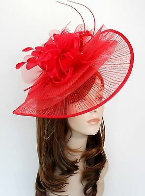 New Church Derby Wedding Pleated Poly Fascinator Dress Hat w Headband 2450  Red 7058a03f152e