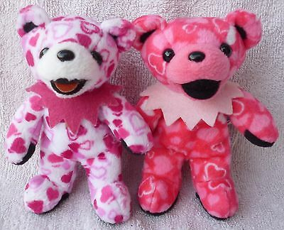 2 Grateful Dead Beanie Bear Lil Heart & Lil Love Pink Soft Plush Toy Liquid Blue