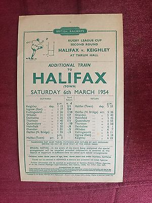 Railway Handbill For Halifax v Keighley Rugby League Cup, 6th March 1954