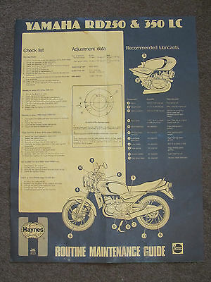 Yamaha Rd250Lc Rd350Lc Haynes Routine Maintenance Guide Poster