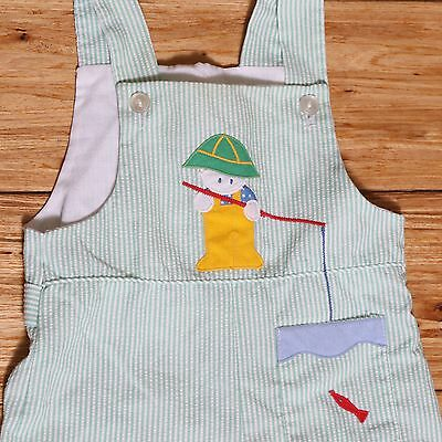 EUC Vintage Overalls Fisherman Seersucker Green Summer Weight Size 12 months