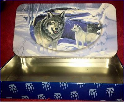 Collectable Long Tin Wolves Wolf in Snow White Wold Grey Wolf Claws drawn Sides