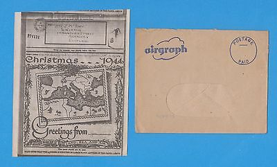 AIRGRAPH ILLUSTRATED 1944 CHRISTMAS GREETINGS C.M.F. RAF CENSOR with ENVELOPE