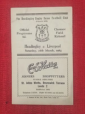 Headingley v Liverpool Rugby Union Programme, 1963