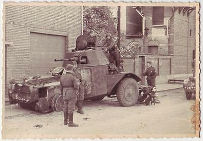 German Wwii Photo From Archive: Wehrmacht Soldiers & Remains Of Armoured Vehicle