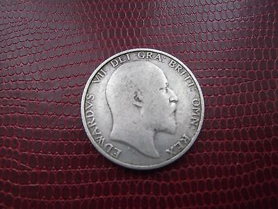 1902 Edward Vii Sterling Silver Shilling Good Coin
